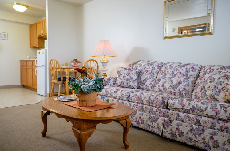 Living room and kitchen in our Joliet supportive living arrangements